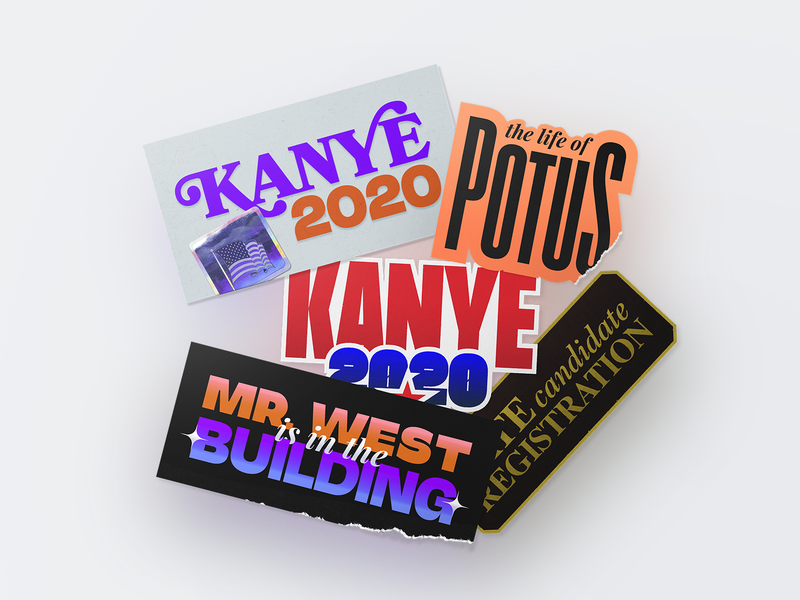 Kanye 2020 Campaign Stickers texture type typeface typography graphicdesign sticker ironic politics usa election 2020 west kanye