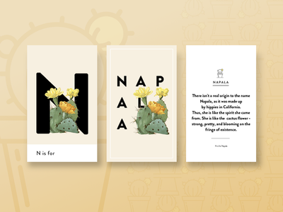 N is for Napala Triptych triptych typograph flower cactus botany