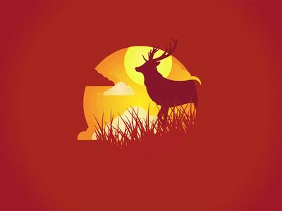 Gradient Natural Deer Vector gradient vector