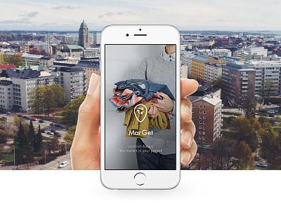 MarGet   Location-based fleamarket app fleamarket branding photography splash logo app