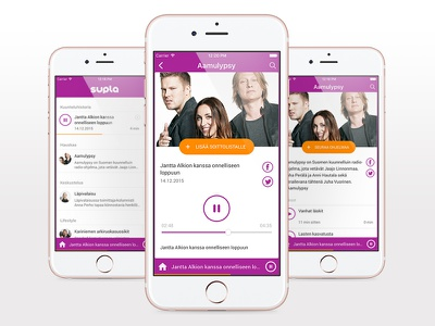 Supla - Radio and podcast App ux ui application ios colorful listen play ondemand radio podcast