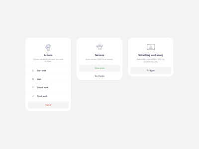 Pop up - Actions, Success, Error components materialdesign icons design uidesign button buttons clean mobile ux uiux ui pop tabs success overlay notification overlay popup notification