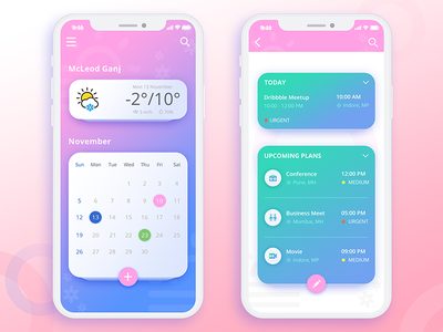Weather & Calendar App Screen priority set weather app reminders meetings calendar app