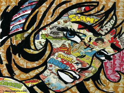 British stamps and comic collage (after Roy Lichtenstein) street art spray paint stencils stencil lichtenstein acrylic paint beano dandy comics comic stamps collage