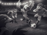 Illustration animals football soccer