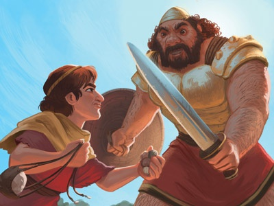 David & Goliath goliath david kids bible digital painting painting drawing characters character design illustration