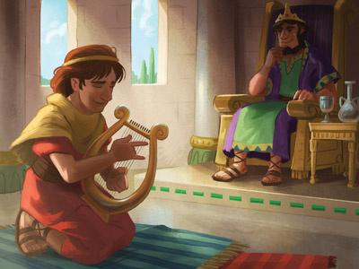 David & Saul harp saul david kids bible digital painting painting drawing characters character design illustration