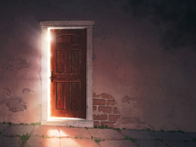 The Necessary Thing realistic texture light mystery invitation door digital painting illustration