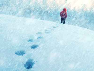 How to Unfreeze Your Faith cold red blue doubt man blizzard snow digital painting illustration