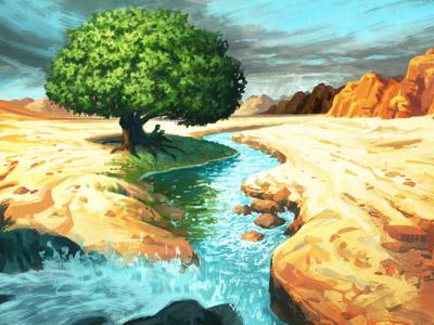 Unphased peace hope desolate landscape desert stream tree digital painting illustration