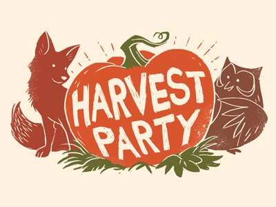 Harvest Party event fall halloween pumpkin owl fox characters silhouette drawing digital painting illustration