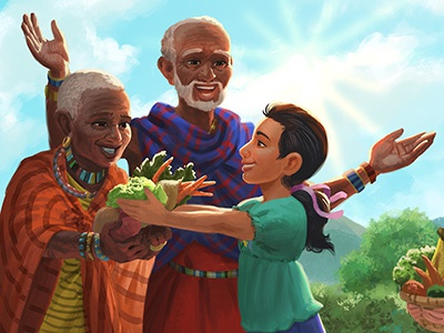 World Vision - Holiday Storybook diverse children kids character design characters digital painting illustration