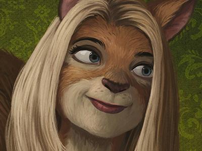 Area 23 Portrait - Detail woman squirrel face digital portrait painting illustration