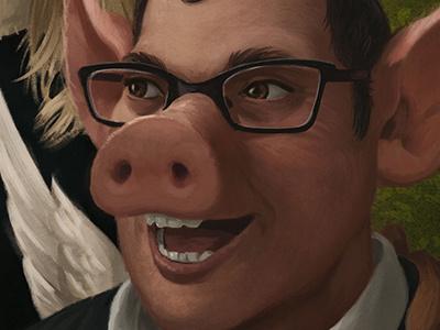 Area 23 Portrait - Detail 2 man face pig painting portrait digital illustration