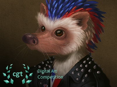 Punk Hedgehog - CGTrader Digital Art Competition character photoshop painting digital painting illustration