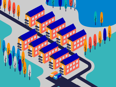 Campus orange blue camps landscape buildings web isometry illustration vector