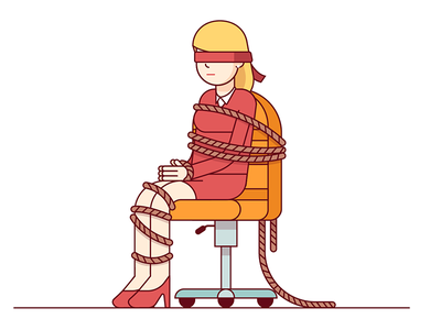 Kidnapping web illustration vector chair cord rope tie red woman rapine abduction kidnapping