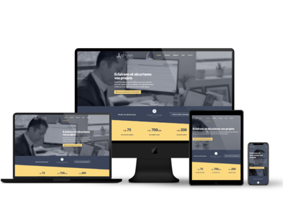Responsive site for a lawyer paris french france yellow blue vitrine internet site webdesigner webdesign lawyers lawyer