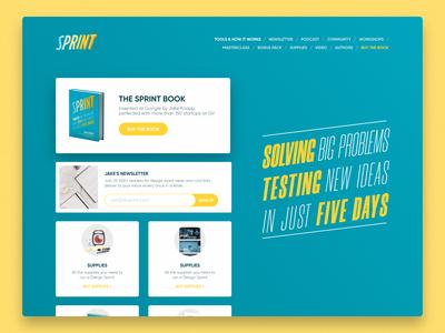 Sprint - Landing page card colorful menu newsletter design web book landing page concept landing page design sprint sprint