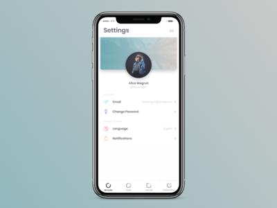 Bubl - App Settings card profile gradient iphonex icon ux account settings password app design app dailyui7 dailyui 007 settings ui