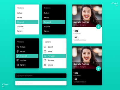 TinyUI #1 account dashboard search profile crm user contact menu web components