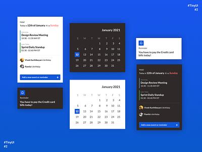 Tiny UI #2 web design schedule meeting date picker birthday components reminder event calendar date