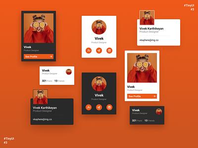TinyUI #3 menu profile page web design popup follow contact component account user profile