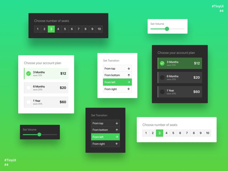 TinyUI #4 choose seats plant volume pricing option menu picker selection select