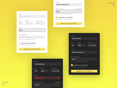 TinyUI #6 button input field alert error profile username email form design form field form