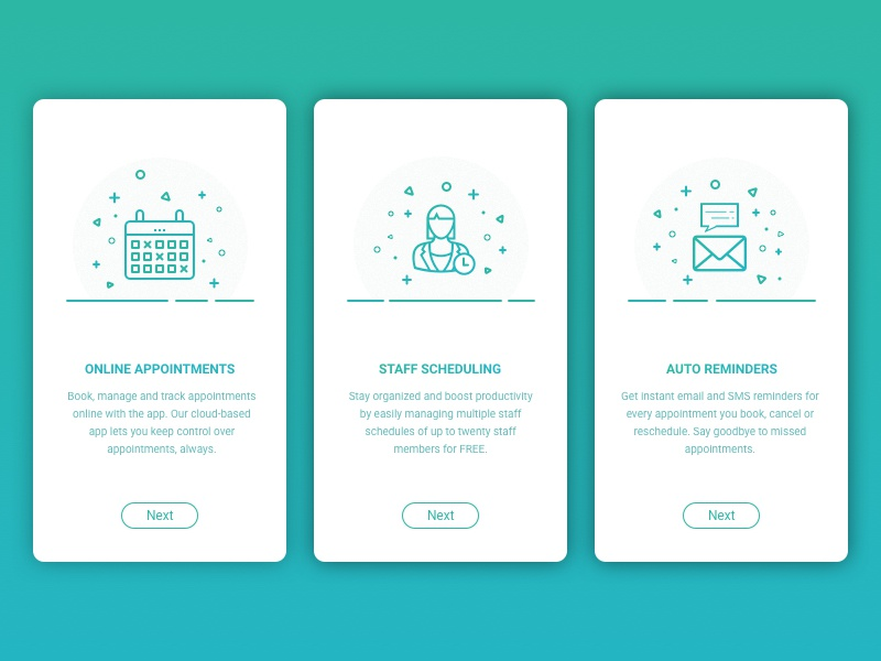 Onboarding Screens - Appointment Booking App minimal green icons illustrations design app mobile screens onboarding