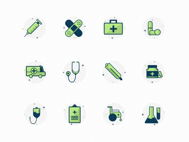 Medical Icon Set design medical green healthcare sketch illustration icons