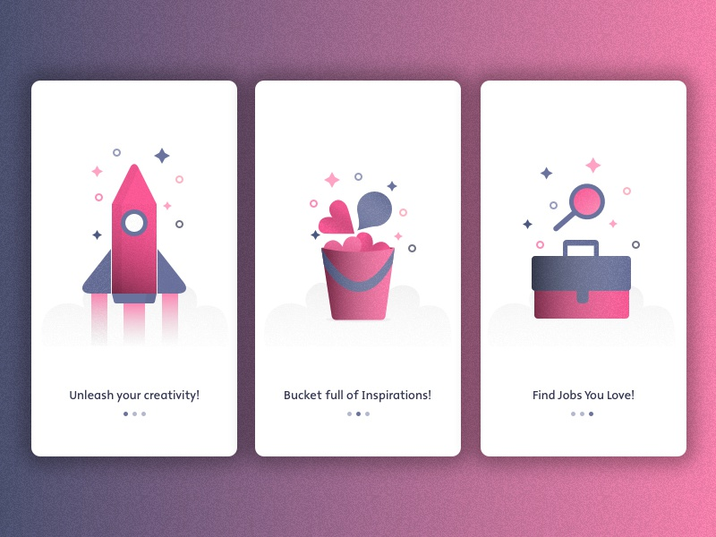 Dribbble Onboarding Screens - Concept (.sketch file download)  app design mobile minimal purple pink shapes vector sketch texture onboarding dribbble