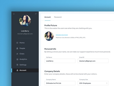 Dashboard - Account Details Page