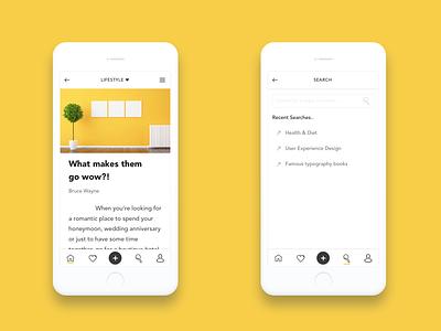Mobile Blog App UI android article design gif minimal ios mobile app mobile blog interaction principle sketch