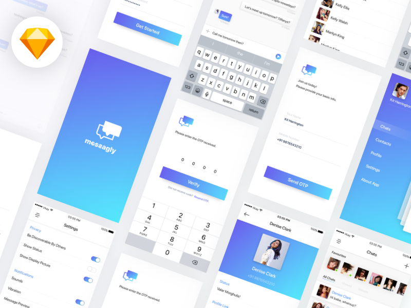 Messagly Freebie UI Kit (Sketch File Download) app vectors free design download chat mobile ios sketch freebie ui kit