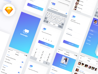 Messagly Freebie UI Kit (Sketch File Download) app vectors free design download chat mobile ios sketch freebie ui kit
