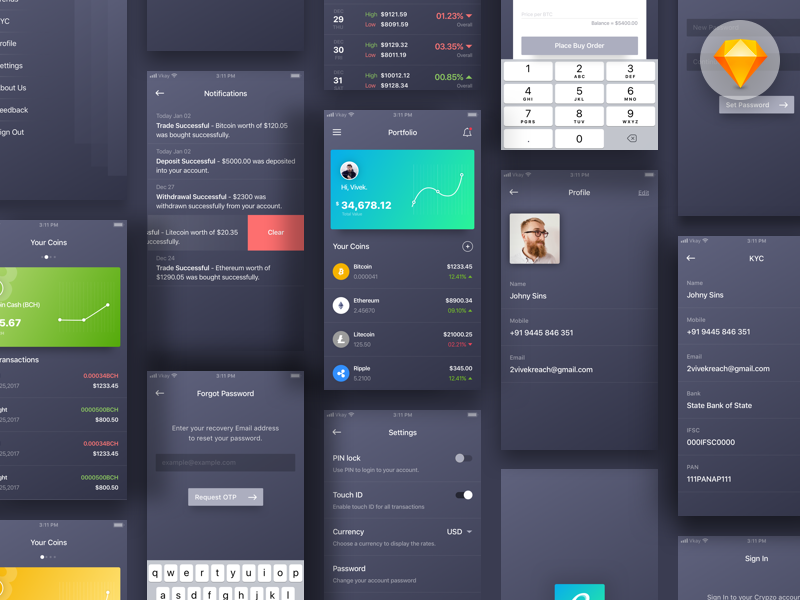 Crypto Wallet App Concept - Free UI Kit (Sketch File) wallet download kit mobile ios sketch design dark cryptocurrency coin ui app