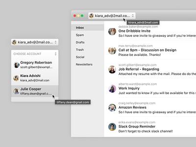 Mac - Account Switcher ux product design ui settings dropdown profile switcher account application mac