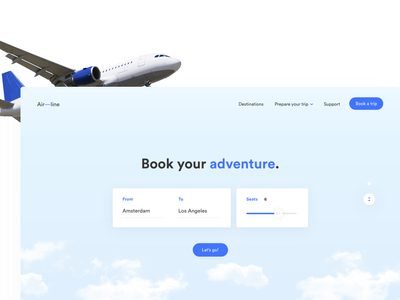 Book your adventure. userinterfacedesign interfacedesign digitaldesigner digitaldesign design concept clouds airline