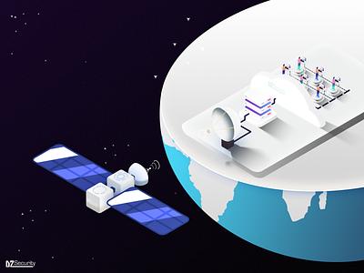 Streaming server planet network data host streaming scenery poster art illustraion scene