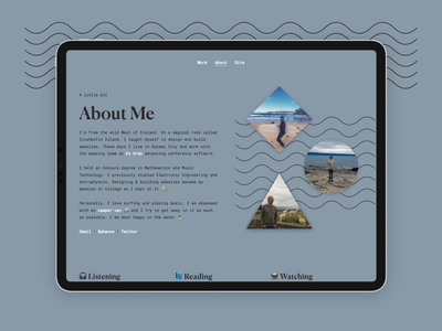 Portfolio Redesign About typogaphy surf performance website portfolio