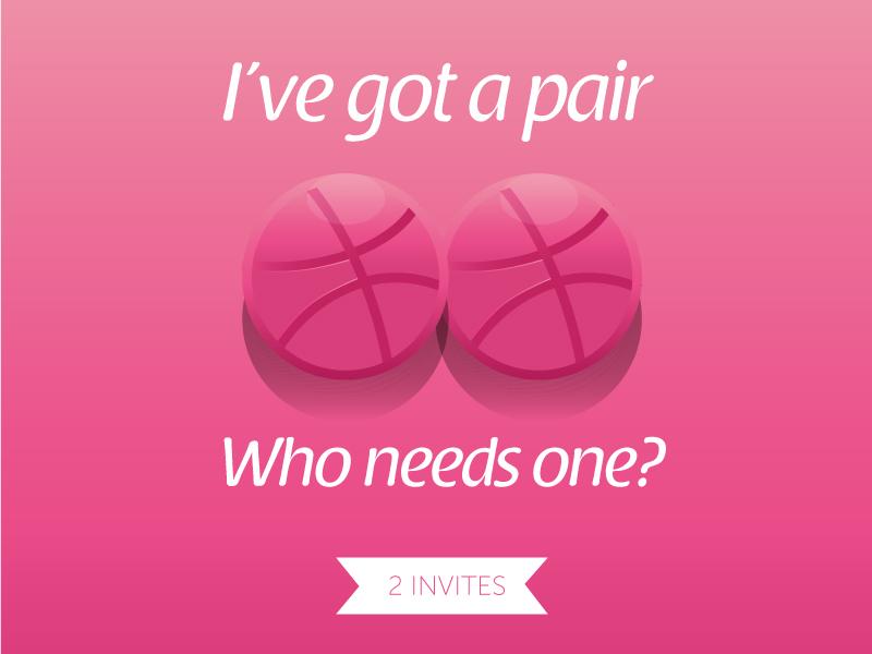 2 Dribbble Invites ball graphic design illustration dribbble invites invite