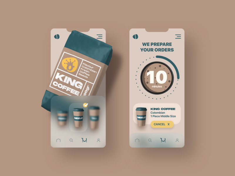 king coffee mobile app design mobile design mobile app app ux ui interface experience coffee bag coffee cup coffee bean coffeeshop coffee shop coffee