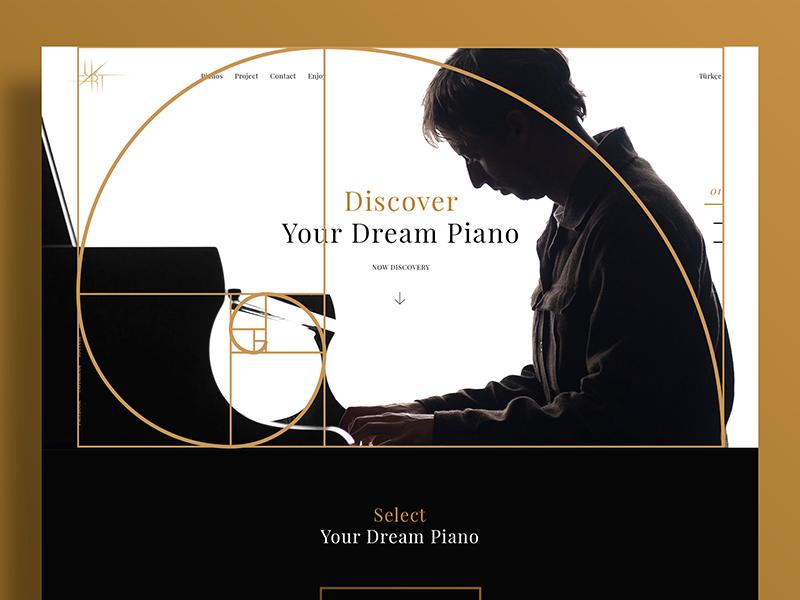 Piano Golden Ratio contrast white black piano web ux interface experience user ui design