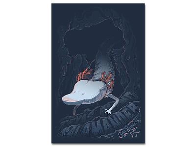 Texas Blind Salamander typography illustration salamander poster