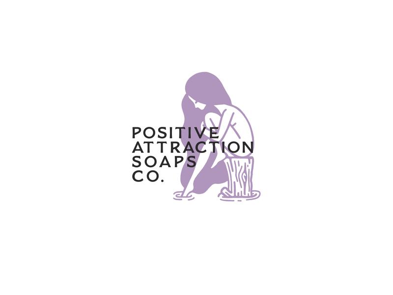 Positive Attraction cosmetics illustration logo branding