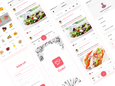 Cook it - A Recipe Maker App Concept social page logo splash screen profile timeline signup ios cooking app