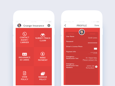 Insurance Claim App emergency sos interaction card vehicle tracker profile application insurance
