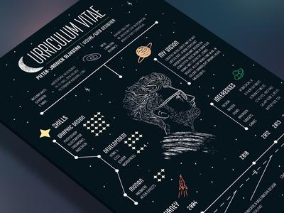 Personal Resume visa texture moon stars infographic curriculum vitae space personal vector cv resume