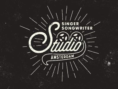 Logo for Singer Songwriter Studio  signage music vintage typography type texture sign retro old mark logo illustration